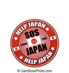 Help Japan label - Red label with the text SOS Japan written...