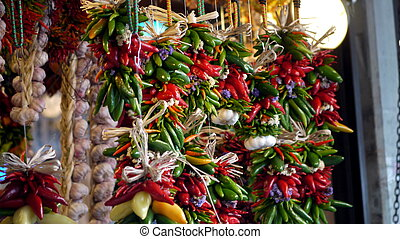 Hanging Peppers - Peppers and garlic hanging at the Pike...