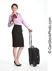 Business woman with suitcase