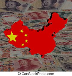 China map flag with yuan perspective illustration