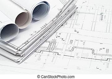 Design and working blueprints - Project drawings paper roled...