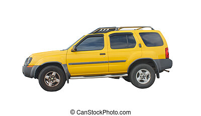 yellow suv - bright yellow rugged 4x4 SUV isolated on white