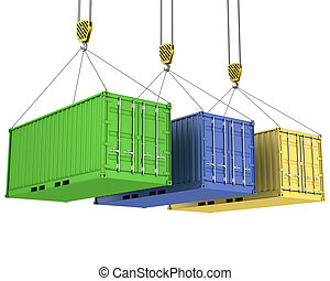 Three freight containers are being hoisted, isolated on...
