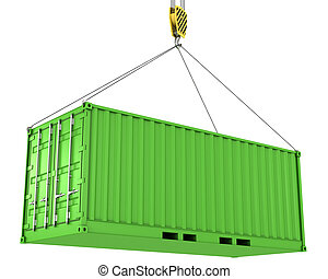 Green freight container hoisted, isolated on white...