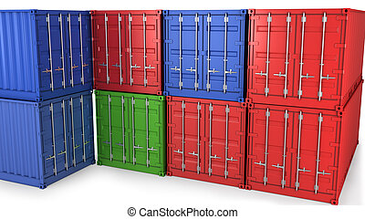 Many freight containers isolatrd on white background