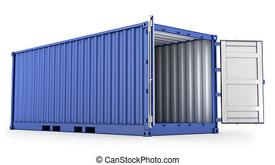 Opened blue freight container