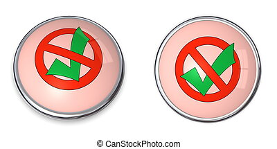 Button Prohibition Sign - No Tick Mark - little button - red...