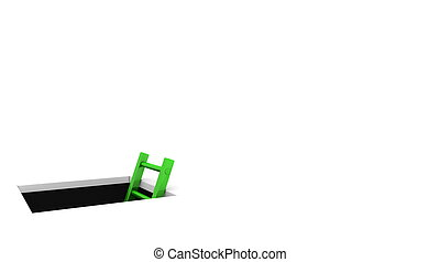 a rectangle hole in the white ground - metallic green ladder to climb out - whitespace on the right for your content