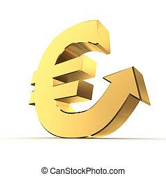 shiny silver metallic euro symbol with an arrow up - shiny...