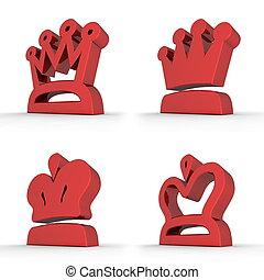 四, 皇家,  -, 王冠, 紅色