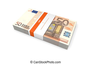 Packet of 50 Euro Notes with Bank Wrapper - single packet of...