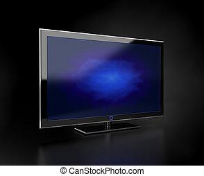 Flat TV - blue screen - Flat HDTV screen