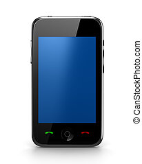 Touch Phone with blue screen front view