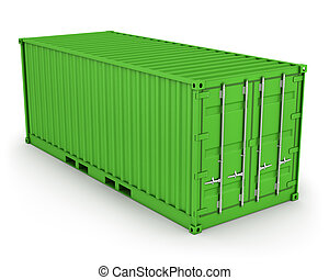 Green freight container isolated