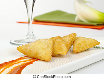 Empanada Filled with Goat Cheese - Appetizer: Empanada de...