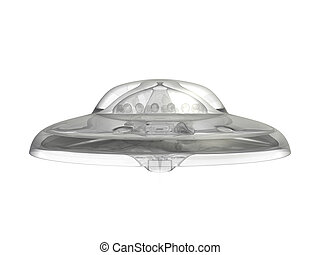 ufo 17 - An isolated translucent ufo hovering on white...