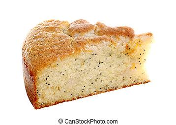 slice lemon poppy seed cake - isolated slice lemon poppy...