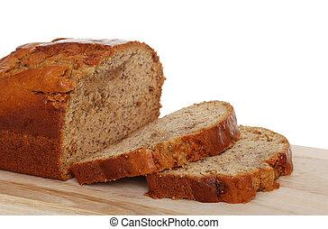 Isolated sliced banana bread