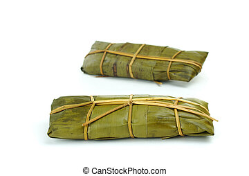 peruano, Tamales, envuelto, plátano, hojas,...