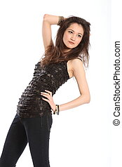 Fashion shot of girl in jeans