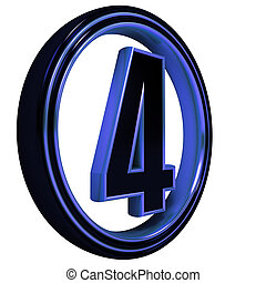 "Blue metal Font Letter ""four"" on White"