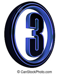 "Blue metal Font Letter ""three"" on White"