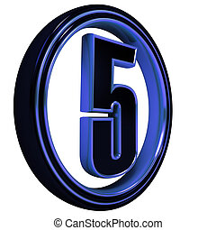 "Blue metal Font Letter ""five"" on White"