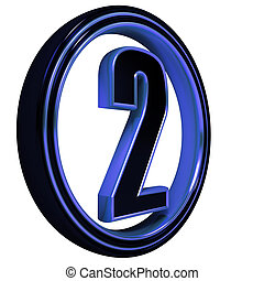 "Blue metal Font Letter ""two"" on White"