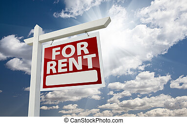 Right Facing For Rent Real Estate Sign Over Sunny Sky -...