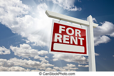 Left Facing For Rent Real Estate Sign Over Sunny Sky - Left...