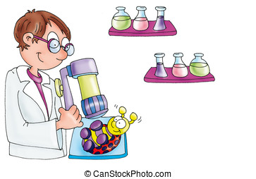 scientist with a microscope,ladybug - scientist with a...