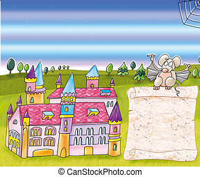 castle, magic, scroll mouse, nebulizer, witch, broom, magic,...