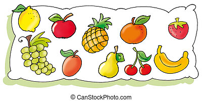 fruit shown - lemon, apple, pineapple, apricot, strawberry,...