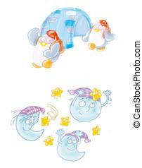 moons, star,penguin, igloo - moons, star, running, sky, hat,...