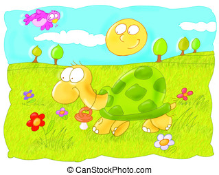 turtle, sun, grass, design for children, green, nature,...