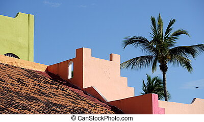 Mexican Rooftop - Rooftop of a colorful building in Mexico...