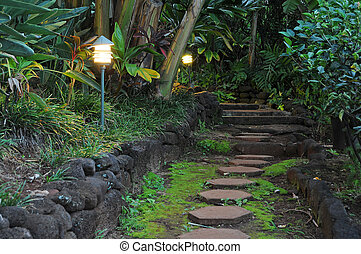 Pathway Stones in a Garden - red hexagon pathway stones in a...