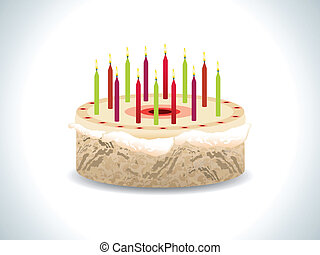 abstract birthday cake with candles  vector illustration