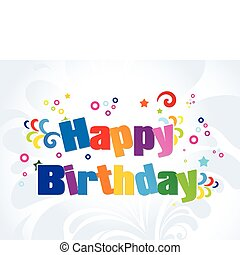 abstract colorful birthday words