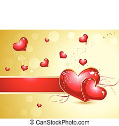 abstract heart background  with golden