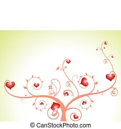 abstract heart tree with florals vector illustration