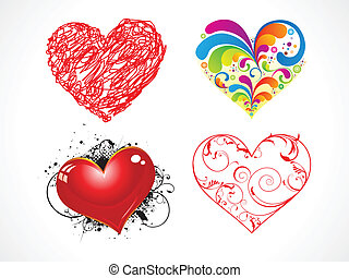 abstract heart set vector illustration