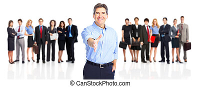 Business people team - Large group of young smiling business...