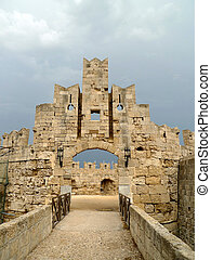 Entering the Palace of The Grand Masters, Rhodes, Greece