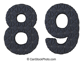 Stitched leather font 8 9 numerals isolated over white