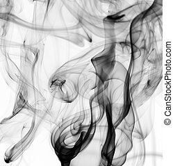 Abstract black fume patterns on white