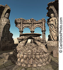 Fantasy temple ruins - 3D rendered fantasy ancient temple...