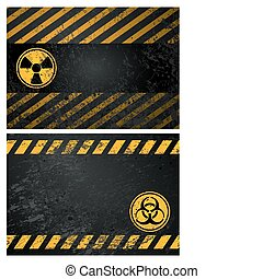 danger warning background - nuclear and biohazard danger...
