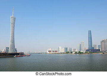 Guanghzou city and Zhujiang river - Zhujiang River landscape...