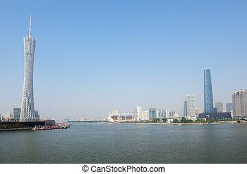 Guanghzou city and Zhujiang river - Zhujiang River landscape...